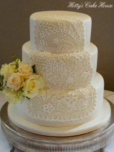 Lace panel wedding cake