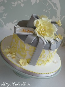 yellow and grey box cake