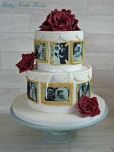 Golden wedding anniversery cake