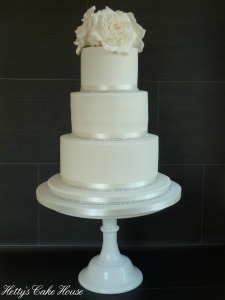 white diamante cake