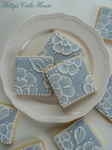 Blue brush embroidery cookies