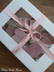 Pink baby cookies boxed