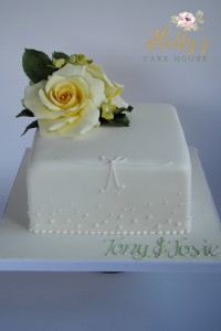Yellow rose anniversary cake
