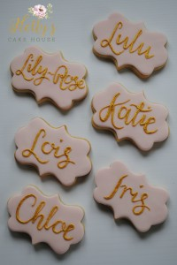 Gold name cookies