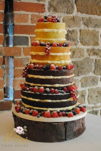 Naked wedding cake with fruits
