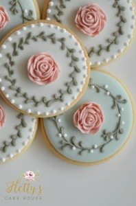 Rose Wreath Cookies close up