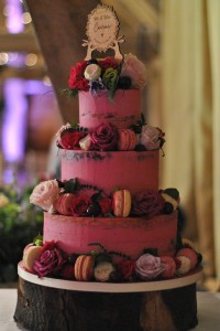 Pink semi naked wedding cake